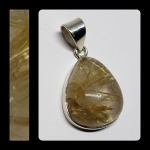 Rutilated Rare Honey Quartz Pendant
